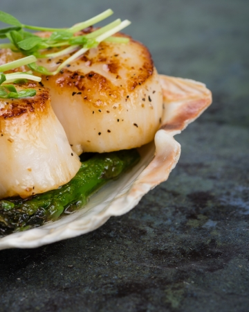 scallops: Freshly sauteed scallops with green asparagus on a shell