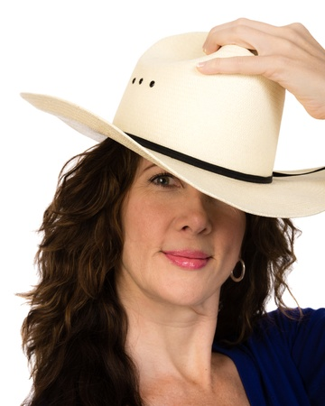An attractive middle aged woman in a white hat photo