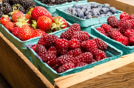 berry: Fresh boxes of assorted berries on display at the farmers market