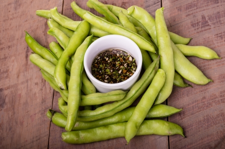 Fresh fava beans with dipping sauce ready to eat