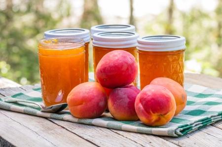 Jars of homemade apricot jam or preserves Stok Fotoğraf