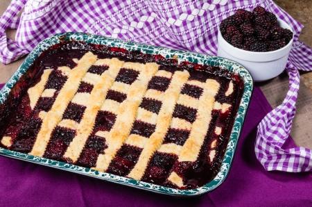 cobbler: Fresh homemade marionberry cobbler in pan