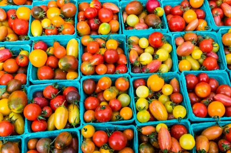 farmers market: Heirloom small tomatoes on display at the farmers market