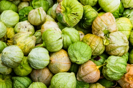 Tomatillos green with husks on display at a farmers market Banco de Imagens