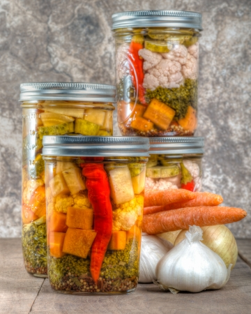 Pickled mixed vegetables from home canning