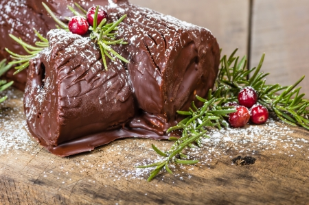 Chocolate Yule log with green branches and cranberries photo