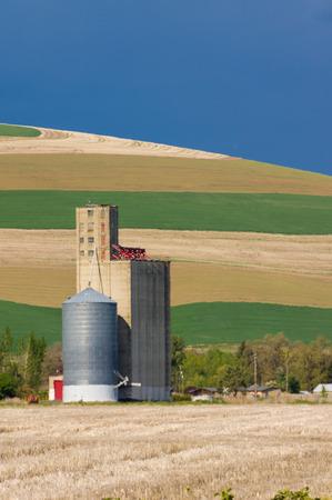 A rural grain elevator and storage silo Stock Photo