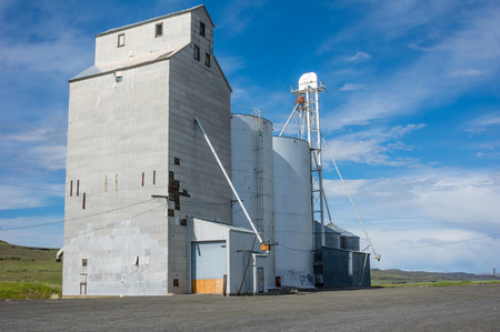 Grain elevator and storage silos in a rural area