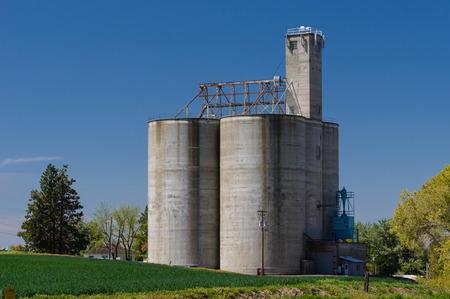 Concrete grain storage silos and elevator in a field Stock Photo