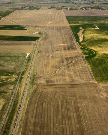 Aerial view of flat agricultural fields