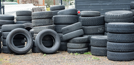 winter tires: A group of studded winter tires ready to be installed Stock Photo