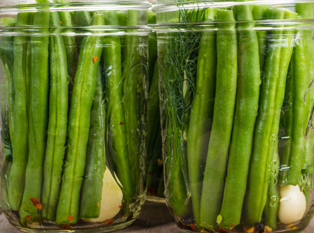 preserving: Fresh green beans in mason jars ready to be preserved