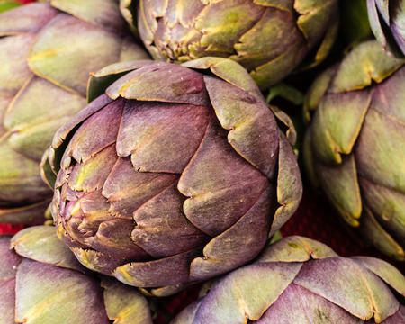 organics: Freshly picked green artichokes at the farmers market