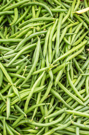 snap bean: Green beans or snap beans in a bulk display at the market