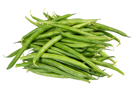snap bean: Freshly picked green or snap beans isolated on white