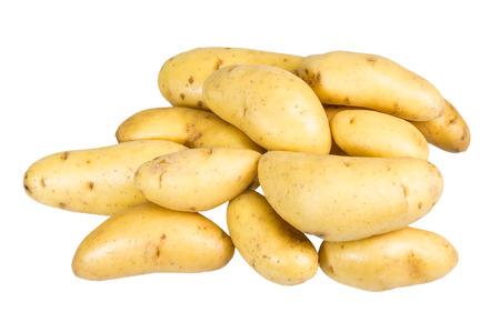 fingerling: Group of fresh white fingerling potatoes isolated on white