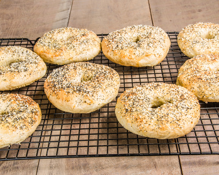 Bagels just baked and placed on cooling rack