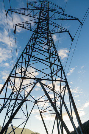 mt  hood national forest: Electrcial transmission tower with blue sky Stock Photo