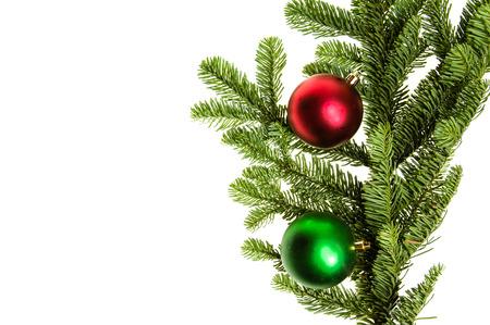 붉은 색과 녹색 장식품 격리와 고귀한 전나무 가지