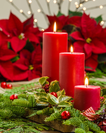 Lit red candles in an evergreen Christmas arrangement photo
