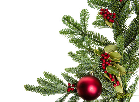 boughs: A corner border of noble fir boughs with red ball