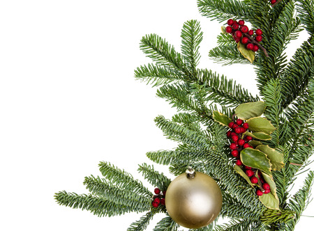boughs: A corner border of noble fir boughs with gold ball