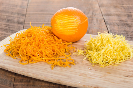 Cutting board with orange and lemon zest