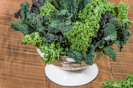 Red and green kale leaves in a white colander