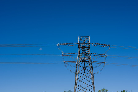 Electrical transmission tower with high tension wires