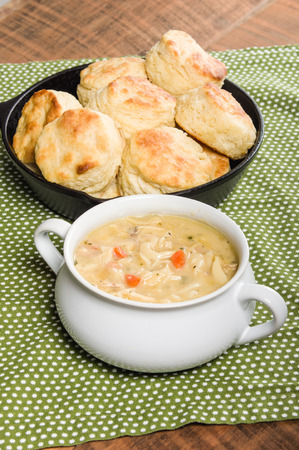 chicken soup: Hot chicken soup with skillet baked biscuits