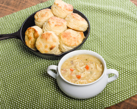 noodle bowl: Hot chicken soup with skillet baked biscuits