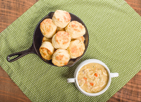 skillet: Hot chicken soup with skillet baked biscuits