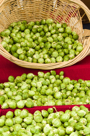 brussel: A display of brussel sprouts at the market Stock Photo