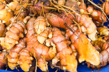 tumeric: Freshly dug tumeric root at the market
