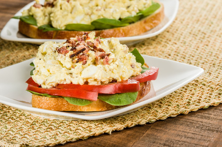 bacon bits: A homemade egg salad sandwhich with bacon bits tomato and lettuce