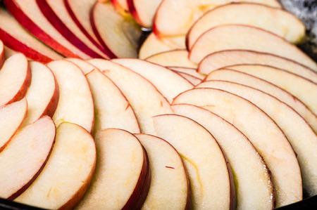 Apple slices arranged Stock Photo