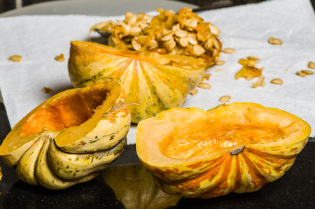 acorn seed: Winter acorn squash hollowed and seeds removed