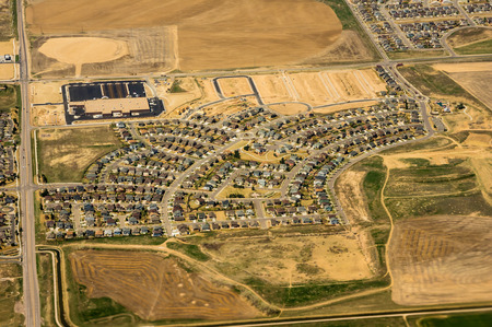 property development: Aerial view of modern planned housing development Stock Photo