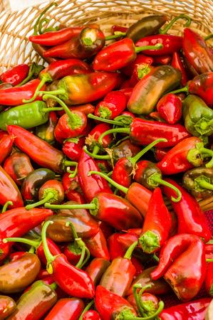 chiles picantes: Chiles rojos en una pantalla de la cesta de mimbre en ese mercado