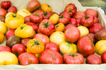 heirloom: Heirloom tomatoes on display at the farmers market