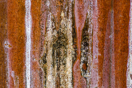 worn: Rusty worn sheet metal corrugated siding for texture Stock Photo