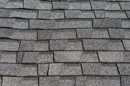 Detail and texture of composition shingles on a roof Archivio Fotografico