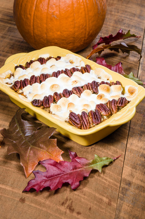 pecans: Sweet potato casserole with pecans and marshmallow topping
