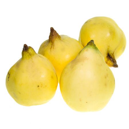 membrillo: La fruta fresca de membrillo aislada en el fondo blanco