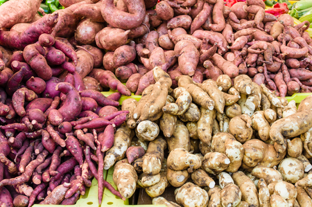 harvests: Fresh sweet potatoes at the farmers market
