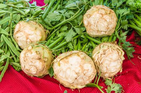 harvests: Freshly harvested celeriac at the farmers market Stock Photo
