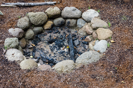 A firepit made of stones for containing a fire