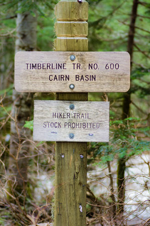 Sign post for trail 600 Cairn Basin in the Mt Hood National Forest Stock Photo