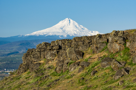 mt hood national forest: Volcanic cliffs of the Columbia Gorge with Mt Hood