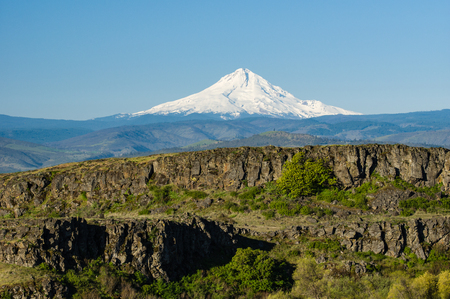 mount hood national forest: Volcanic cliffs of the Columbia Gorge with Mt Hood